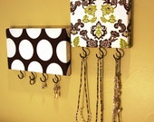 Set of 2 Jewelry / Accessory / Key Hangers in Brown, Vibrant Green and White