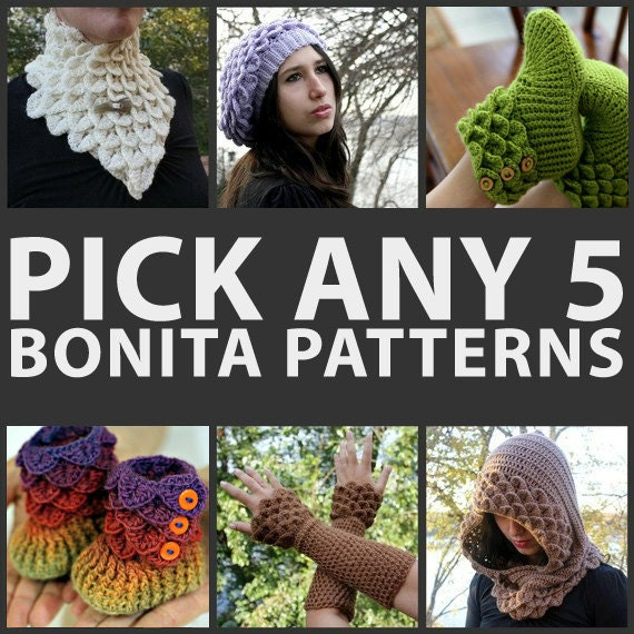 CROCHET PATTERN: Any Combination of 5 Bonita Patterns (Bundle) - Permission to Sell Finished Product