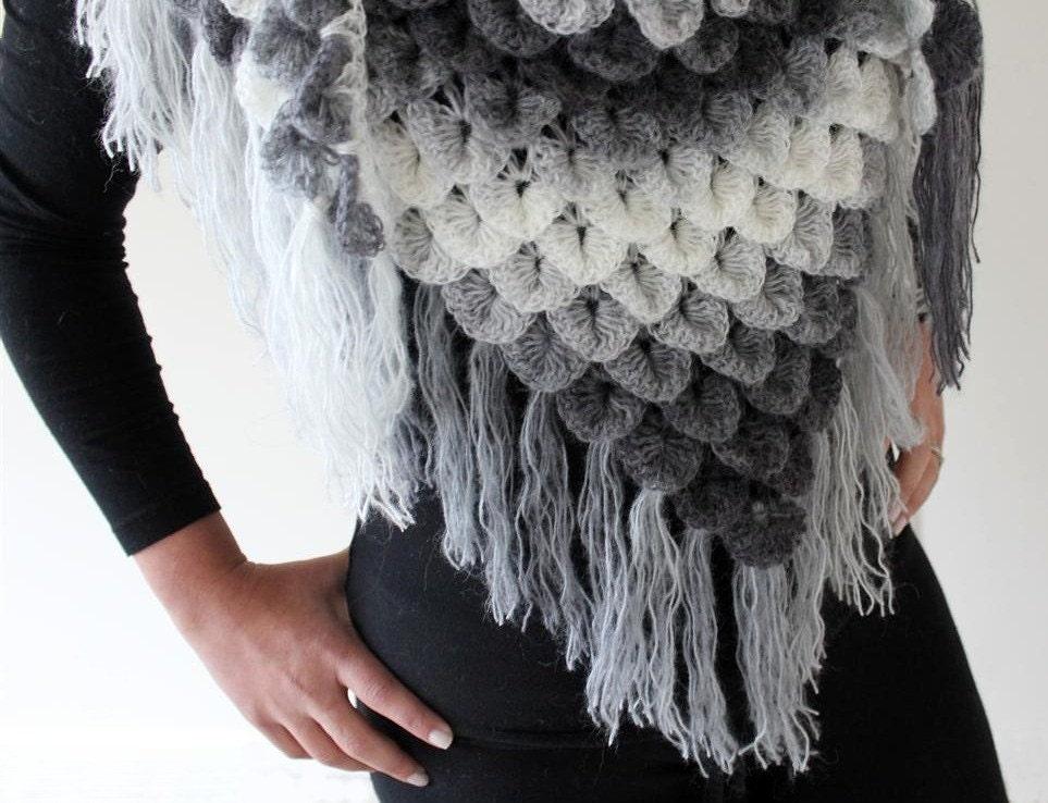 Crocodile Stitch Triangle Shawl Crochet Pattern by bonitapatterns