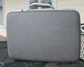 Vintage American Tourister gray tweed briefcase