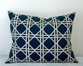 RESERVED for quantum2 Lattice Decorative Designer Pillow Cover 16x16  NEW. Navy Blue. Nautical Accent Cushion