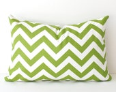 Chevron Stripes Decorative Designer Lumbar Pillow 12x18 Chartreuse Green lime grass white Zig Zag Accent Cushion . Geometric Modern spring