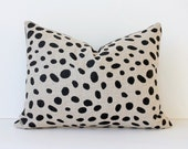 "Spotted Black & Tan Decorative Designer Pillow Cover lumbar 12"" x 16"" Accent Throw Cushion polka dots spots white gray barkcloth Animal"
