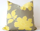"""Modern Floral Dwell Studio Decorative Designer Pillow Cover 18"""" x 18"""" Yellow / Gray / Cream / White. Accent Cushion . Grey Peony"""