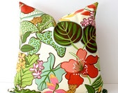 Green Hot Pink Floral Designer Pillow Cover 20 Accent Cushion Tropical flowers Leaves jungle jaguar orange modern hollywood regency gold