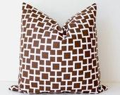 Modern Geometric Designer Pillow 18 Chocolate Brown and White Accent Cushion Cover lattice trellis sqaures fall autumn java