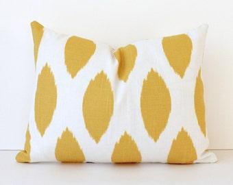 Yellow Spot Ikat Decorative Designer Pillow Cover Lumbar 12x16 Yellow White Accent Cushion flecked suzani sunshine bright chipper dot modern