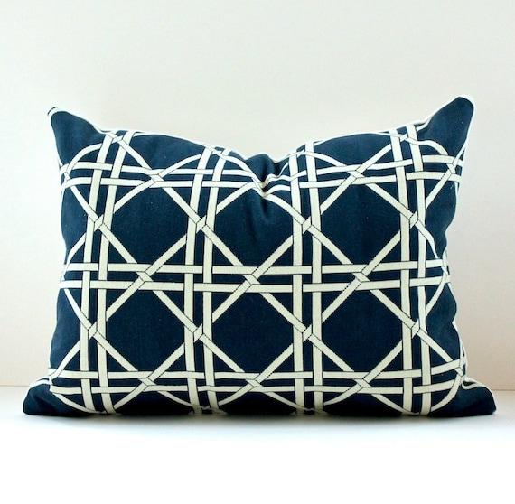 RESERVED pair of Modern Trellis Designer lumbar Pillow Cover 12x16 Indigo Navy Blue Cream Accent Throw Cushion Waverly Garden Lattice