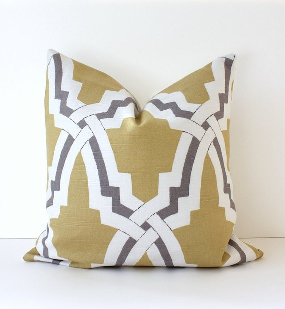 Lattice Yellow wheat Gray Designer Pillows 16 Trellis Accent Throw Cushion Cover hollywood regency geometric modern gold grey