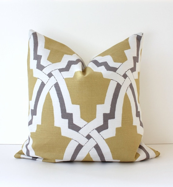 "Trellis Modern Geometric Designer Pillow 16"" Yellow Grey gold Accent Cushion Cover hollywood regency imperial trellis Duralee gray"
