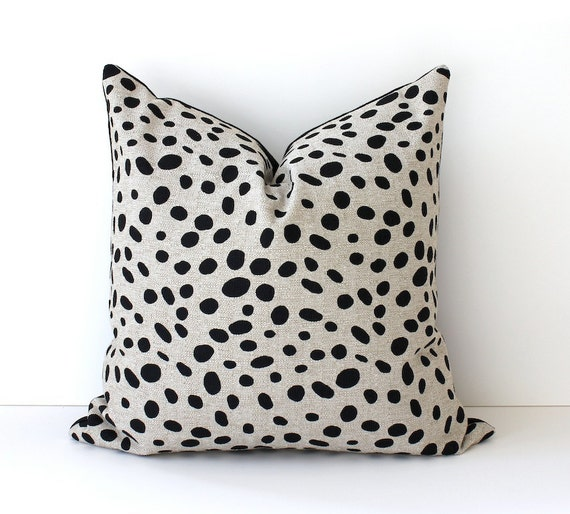"Spotted Black & Tan Decorative Designer Pillow Cover 18"" Accent Throw Cushion . polka dots spots white gray barkcloth Animal print"