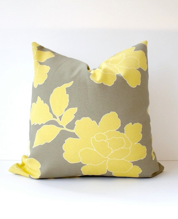 RESERVED Set of 2 Dwell Studio Peony Floral Decorative Designer Pillow Cover 20x20  NEW. Yellow / Gray . Accent Cushion . Grey
