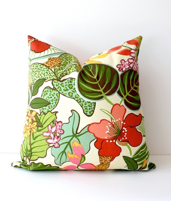 Modern Tropical Hot Pink Green Decorative Designer Pillow Cover Accent Cushion Resort summer leaves Palm Springs leopard spots