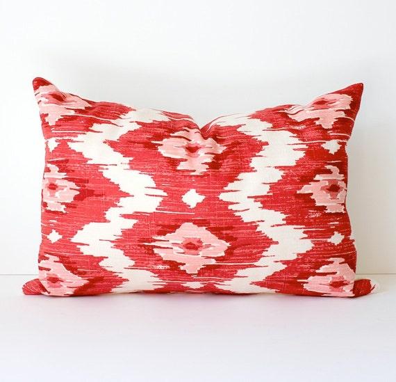 "Red & Pink Ikat Decorative Designer Pillow Cover 12"" x 18"" lumbar raspberry magenta fuschia. Accent Throw Cushion . modern suzani . Duralee"