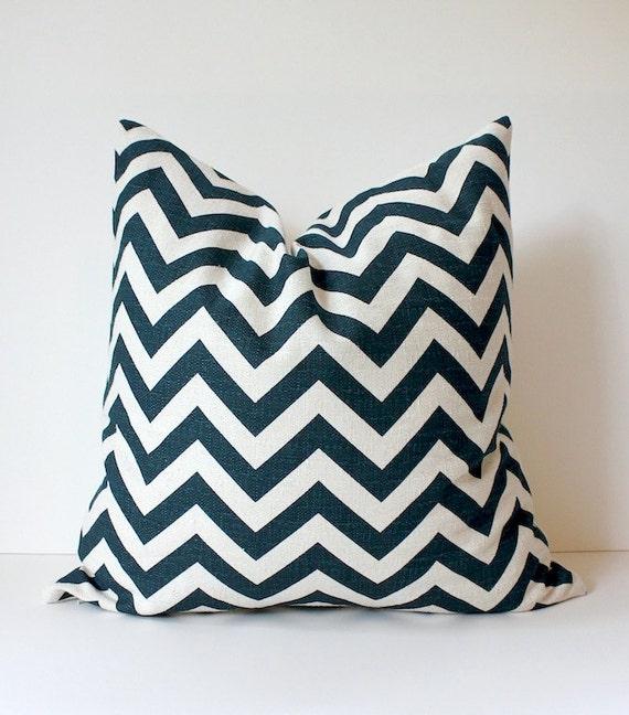 "Chevron Stripes Decorative Designer Pillow 20"" Navy Blue White Cream Zig Zag Accent Cushion . Indigo. Geometric Modern teal"