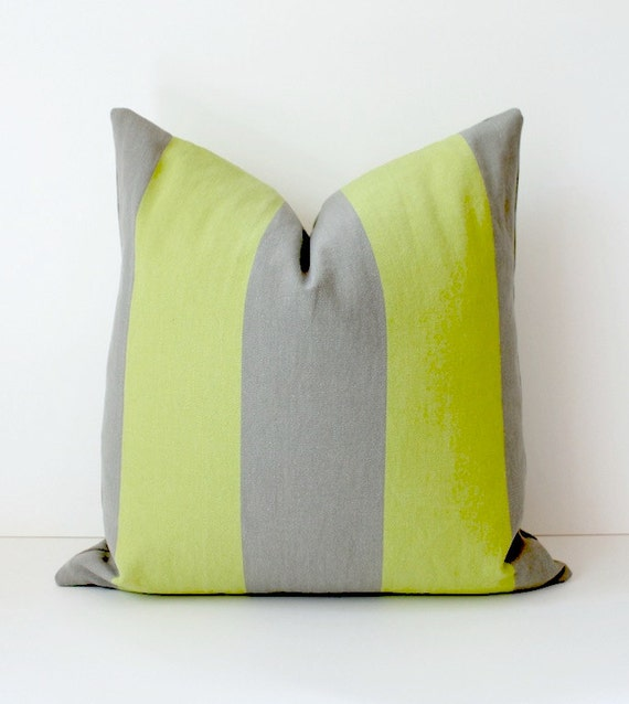 """Chartreuse and Grey Stripe Decorative Designer Pillow Cover 18"""" x 18"""" Accent Throw Cushion neon striped cottage modern gray lime green"""