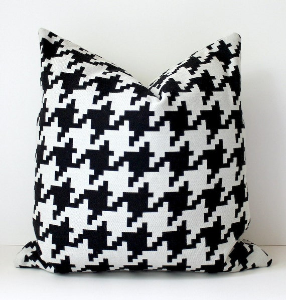 "Black large Houndstooth Designer Pillow 18"" x 18"" cream BW White Throw Cushion Cover decorative Modern Geometric plaid graphic pop Mod"