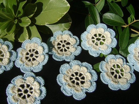 12 new hand crochet flowers from cotton blue and ecru two layers-dimentional (E203)