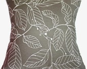 SALE - Taupe Flora Pillow Cover