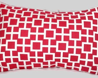Sweet Red Modern Logic Indoor/Outdoor Accent Pillow