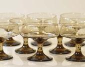 Smoky brown dessert or martini glasses