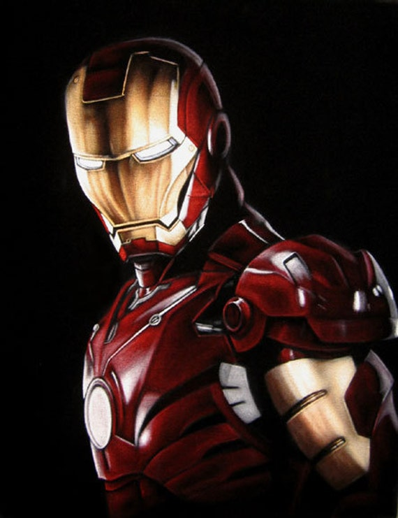 Iron Man Marvel Comic Movie Portrait Black Velvet Painting Pop Art The Avengers