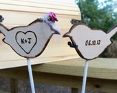 Rustic Love Birds (2) with Birdcage Veil and Bowtie - Cake Topper Wedding Decoration
