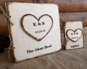 Personalized Guest Book Wedding Set - Rustic Wood Medium-Size GUEST Book and Two (2) VOW Books for your Wedding - Go Rustic Designs