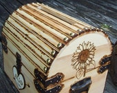 Sunflower - Custom Design - Rustic Wood Treasure Chest or Wedding Card Box with CARD SLOT,  Lock Set