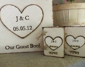 Guest Book Wedding Set - Rustic Personalized GUEST Book / VOW Book Set