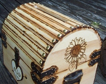 CoUPON CoDE:  BLKFRI10 - Sunflower - Custom Design - Rustic Wood Treasure Chest or Wedding Card Box with CARD SLOT,  Lock Set