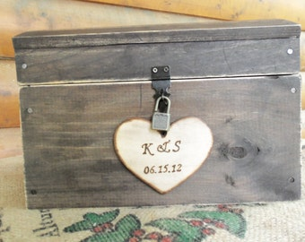 Barnwood-Style Wedding Card Box - TWO Sizes - Working Padlock and Key and SLOT - ALL Inclusive