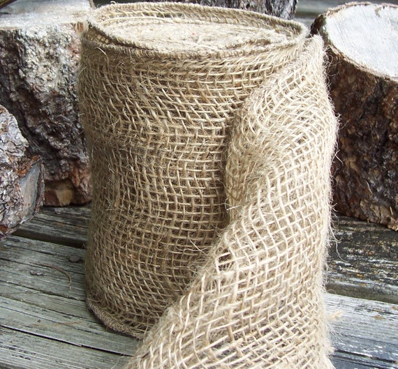 Rustic Woven Burlap Ribbon - Great used in Woodland Beach Cottage French Farmhouse Beach Wedding and Home Accessories