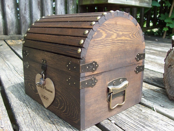 CoUPON CoDE:  JANSALE10 - Wedding Card Box - Rustic Wood Treasure Chest with CARD SloT and LOCK-KeY Set - ALL Inclusive