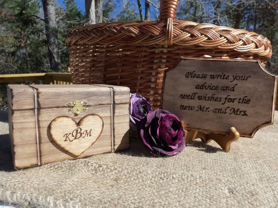 Wedding Guestbook Alternative - Personalized Heart - STAINED Wood Box and Sign