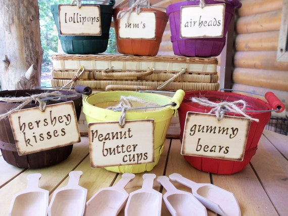 Hand-Made Wood Baskets (Set of 6) - Perfect for your Fall Wedding CANDY BAR, Centerpieces, Flower Girl Baskets - YoUR COLoR SCHEME