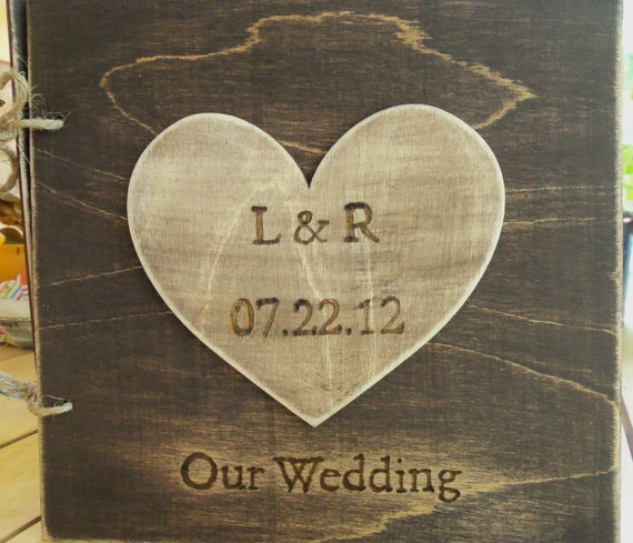 Rustic Wedding Guest Book - Anniversary Gift Idea - Stained with Large Personalized Heart