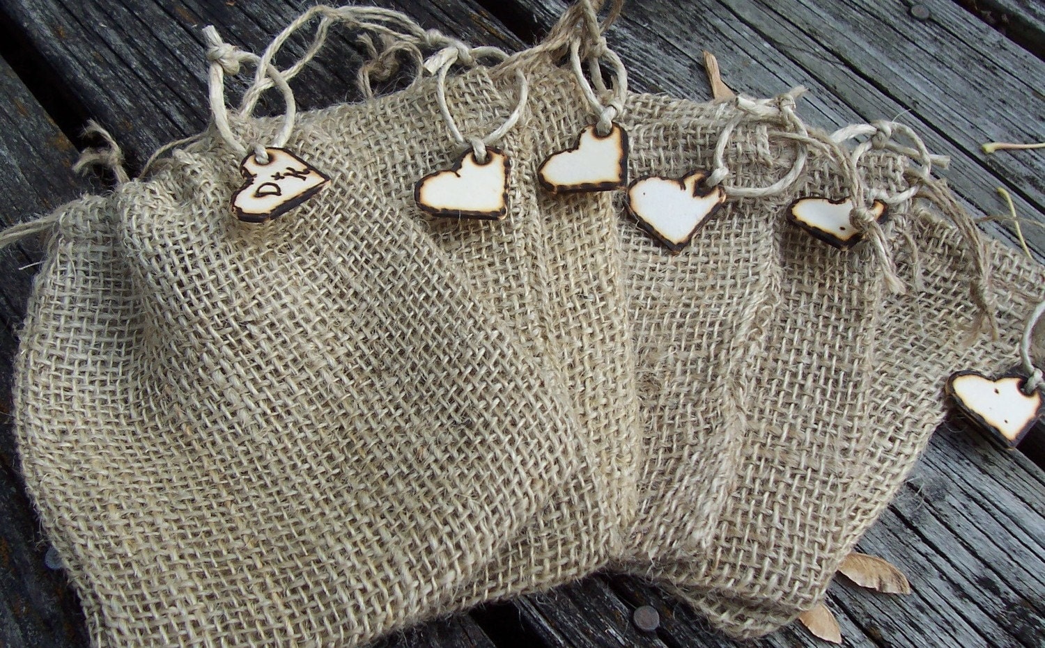 burlap wedding favor bags with personalized heart by gorustic With burlap wedding favor bags