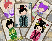 KOKESHI DOLLS Vintage Style Tags ATCs Digital  images (214) Japanese Collage for crafts scrapbooking cards, dolls asian, instant download