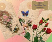 HANG TAGS FLORAL butterflies Shabby Chic images 261 Collage for crafts scrapbooking, flowers, roses, labels,butterflies instant download