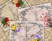 PARIS POSTCARD theme tags ATC Digital Cards 262 Printable images, framed flowers crafts, scrapbooking cards instant download collage sheet