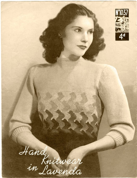 VINTAGE KNITTING  pattern  1930's Womens Sweater (127) Instant Download