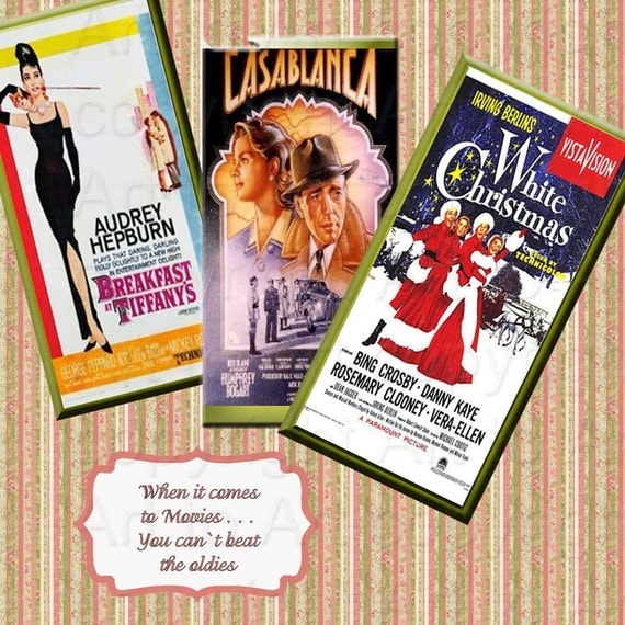 VINTAGE MOVIE POSTERS 118 Digital Image Collage sized to 1 inch x 2 inch for dominoes, crafts, Hepburn, Bogart, instant download
