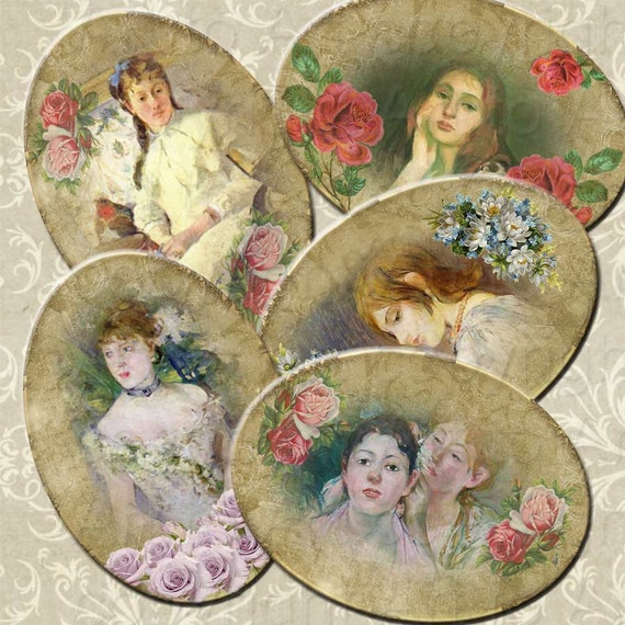 Paintings BERTHE MORISOT Vintage Style Oval Digital  images (241)  Collage for crafts, scrapbooking,  cards INSTANT download