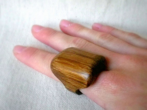 RESERVED FOR HAGIT Large Rectangle Mahogany Ring - Size 8.5