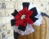 Baby Girl Christmas Hair Bow Headband Red Poinsettia and Black Velvet