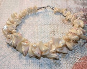 Vintage Chunky Curly Conch Shell Choker Necklace 15""