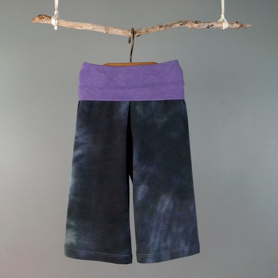 Baby girl yoga pant, purple hand-dyed stretch fabric....... sz. 6-9 month