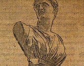 Diana Bust Greek Mythology Sculpture Woman Digital Image Download Transfer To Pillows Tote Bags Tea Towels Burlap No. 1078