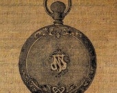 Pocket Watch Engraved Old World Digital Image Download Transfer To Pillows Tote Tea Towels Burlap No. 1246